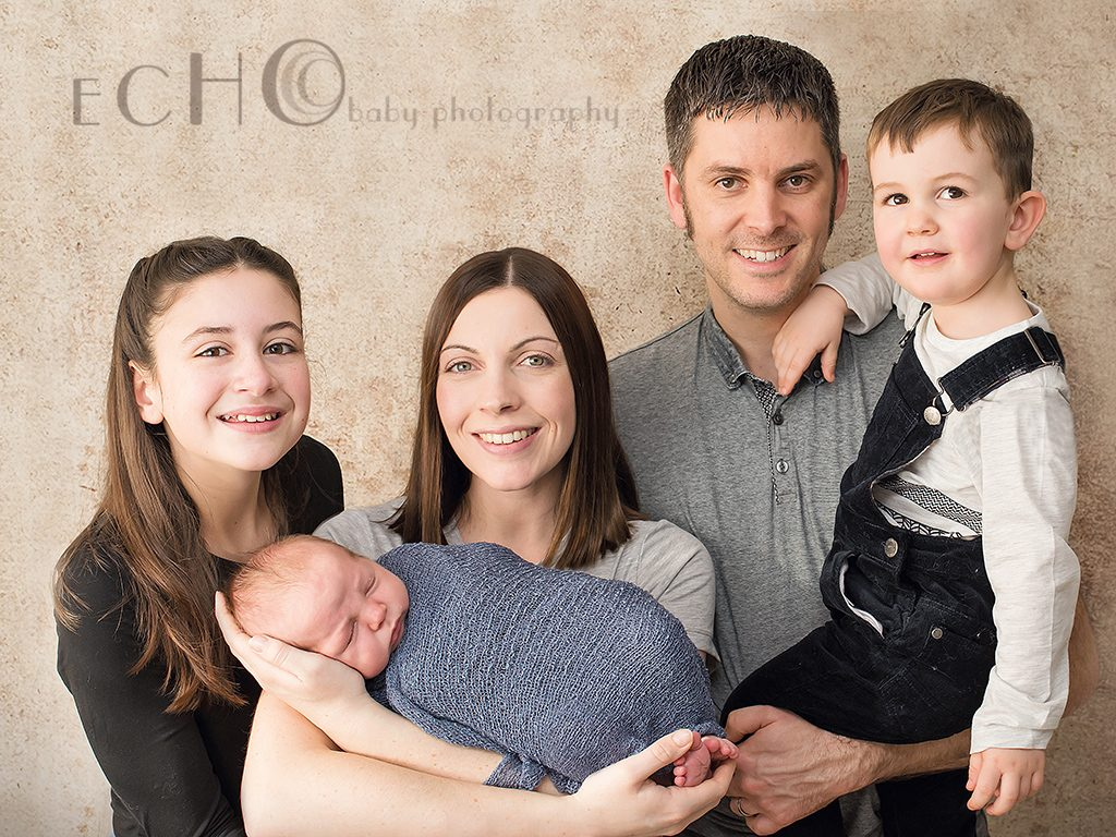 family portrait with newborn